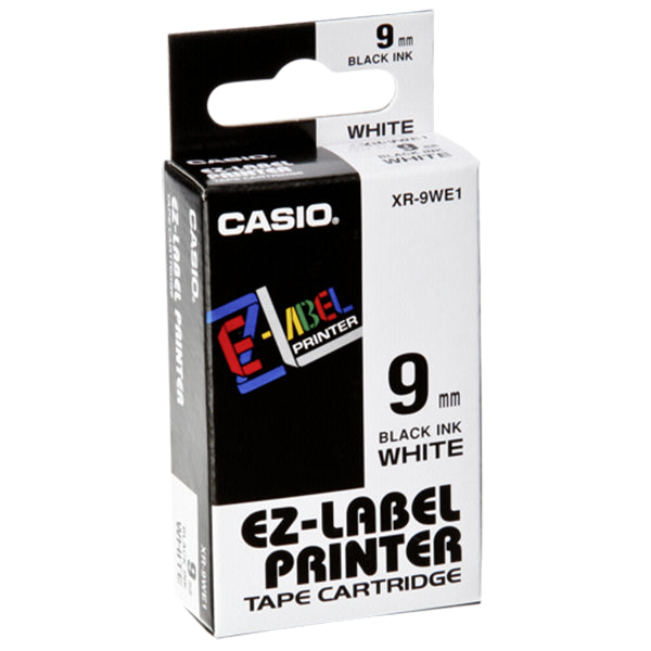 Casio XR-9WE Tape 9mm Black on White - Labelzone
