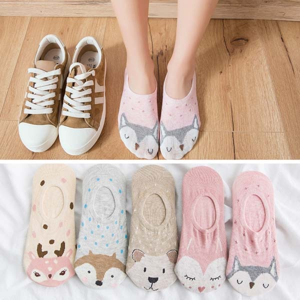 5 Pairs Lot Summer Casual Cute Women Socks Mickey Mouse Duck Socks Co Rupepete