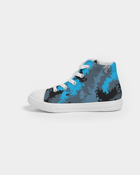 Blue Camo Kids Hightop Canvas Shoes Kids Hightop Canvas Shoe