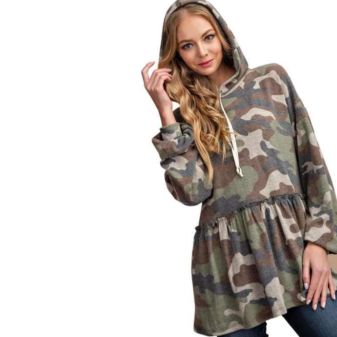 NELLY BRUSHED CAMO HOODY