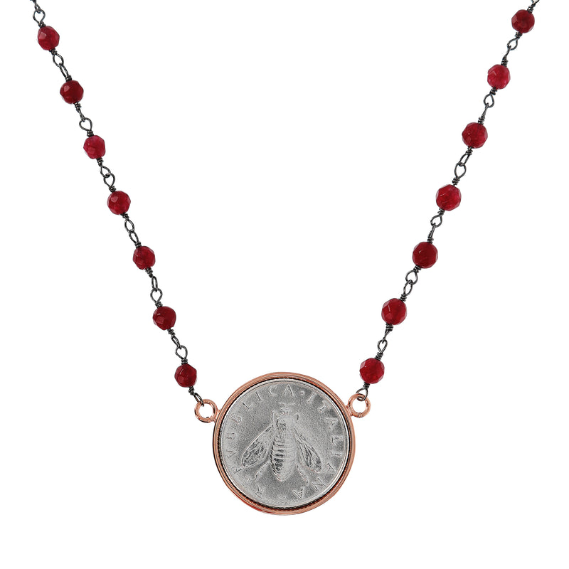 Lira-with-Bee-and-Red-Agate-Necklace_necklaces_red