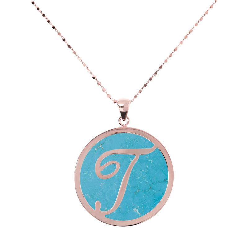 Large Custom Initial Pendant Necklace with Genuine Stone