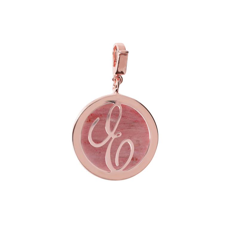 Letter Charm in Rhodonite
