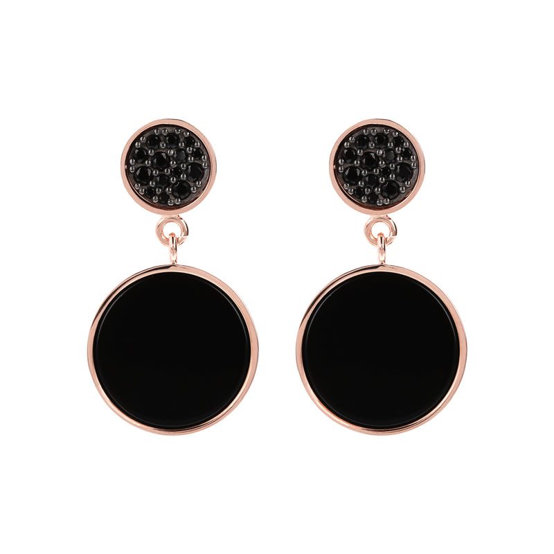 Round Stone and Pavé Dangle Earrings