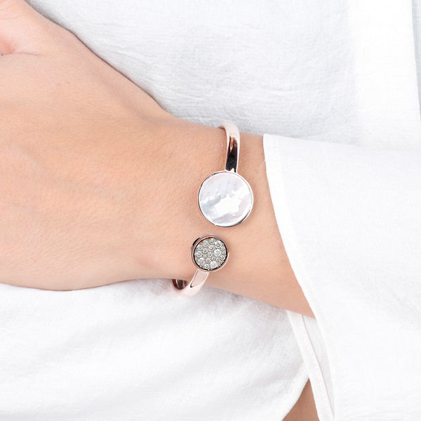 Spring Bangle with Mother of Pearl and Pavé