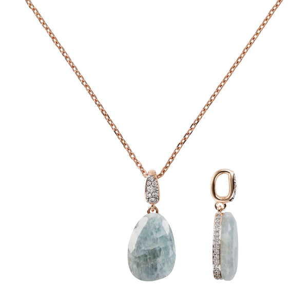 Collier Necklace with Drop Stone and Pavé Pendant