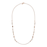 Long Necklace with Pearls and Beads in Golden Rosé