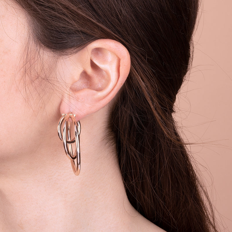 Triple Design Hoop Earrings
