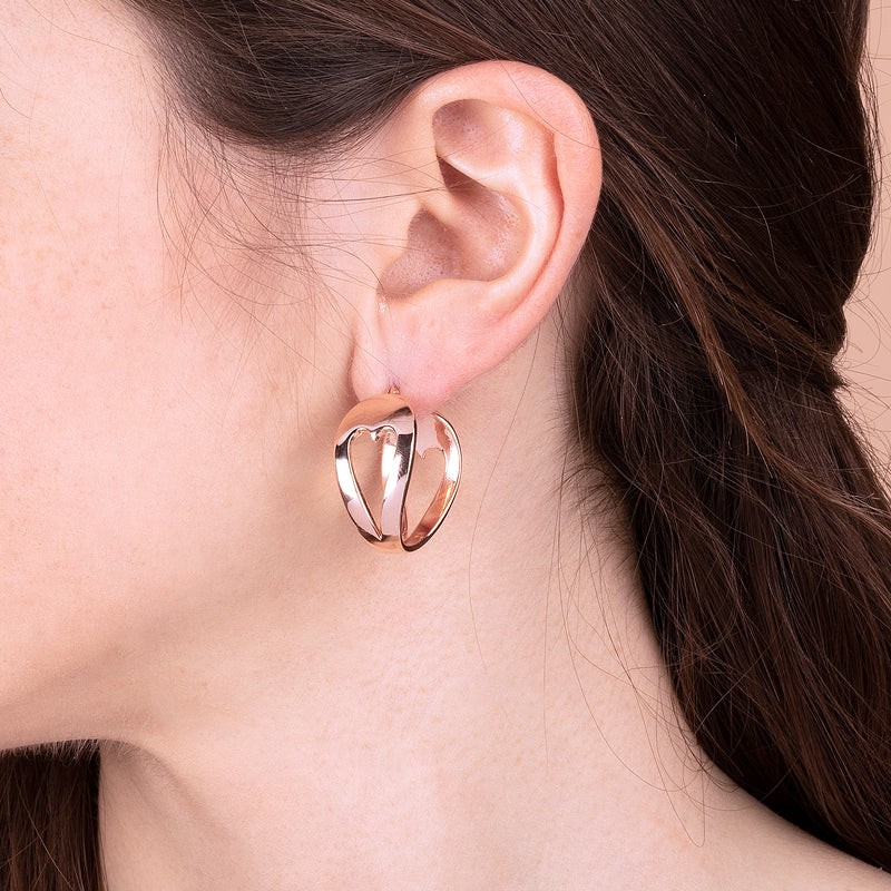 Rose Gold Plated Heart Shaped Hoop Earrings
