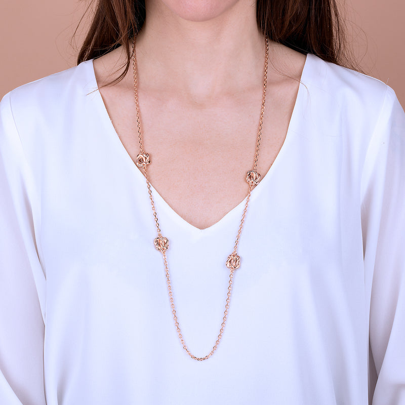 Golden Rose Knot Station Necklace