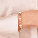 Bracelet with Pearls and Golden Rosé Washers