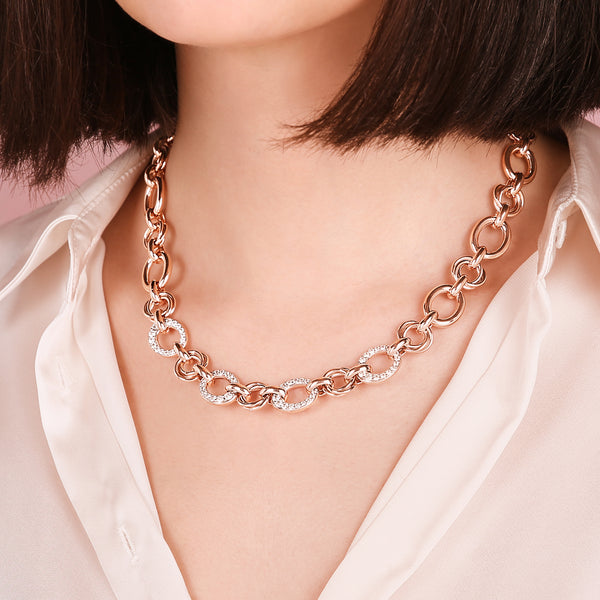 Oval Rolo Chain and Pavé Detail Necklace