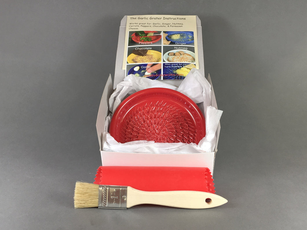 Crimson Red Ceramic Garlic Grater Dish Kit