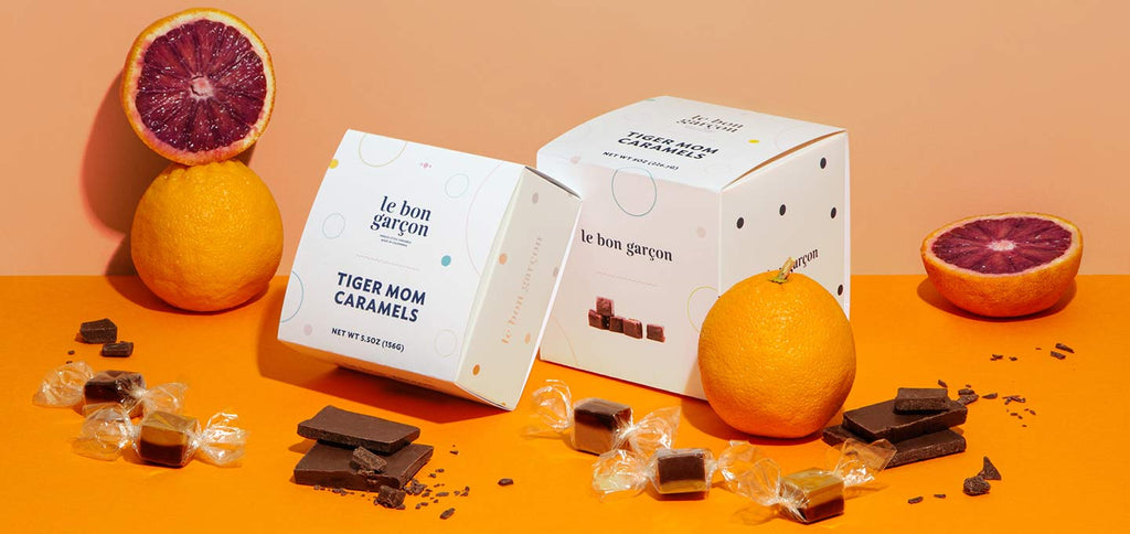 CARAMELS MADE WITH BLOOD ORANGE AND DANDELION CHOCOLATE