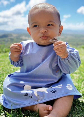 Smock bib - Bubblegum Blue Crocodile