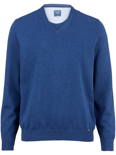 Olymp Blue Cotton V Neck Jumper
