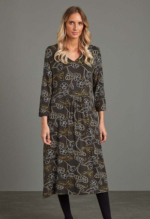 Adini Mori Flower Print Tillie Dress - Olive