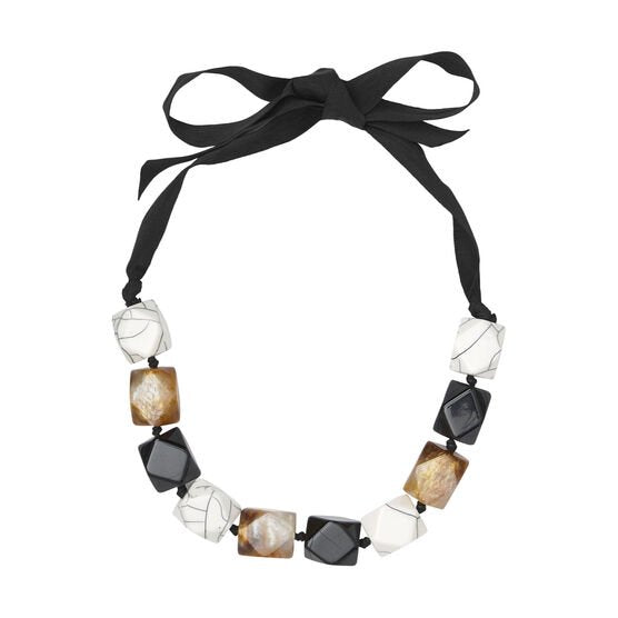 Masai RONJA Black, White and Golden Necklace