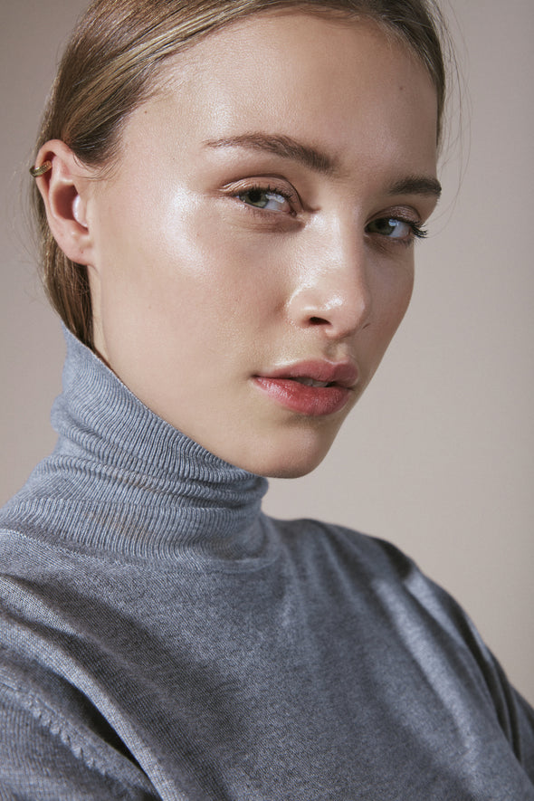 Ichi Mafa roll neck grey knitted top