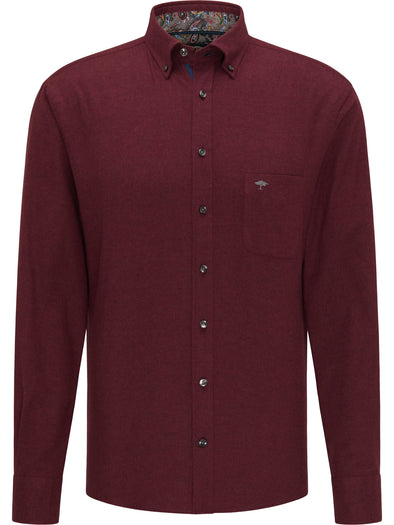 Fynch-Hatton Merlot Solid Flannel Shirt