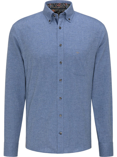 Fynch-Hatton Blue Solid Flannel Shirt