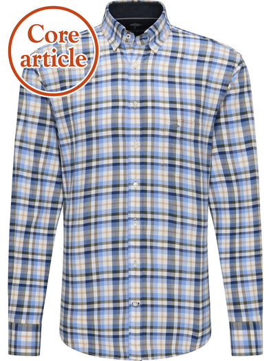 Fynch-Hatton Blue Flannel Checked Shirt
