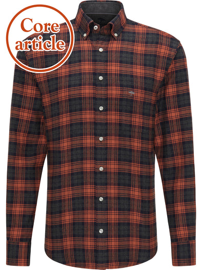 Fynch-Hatton Terracotta Flannel Checked Shirt