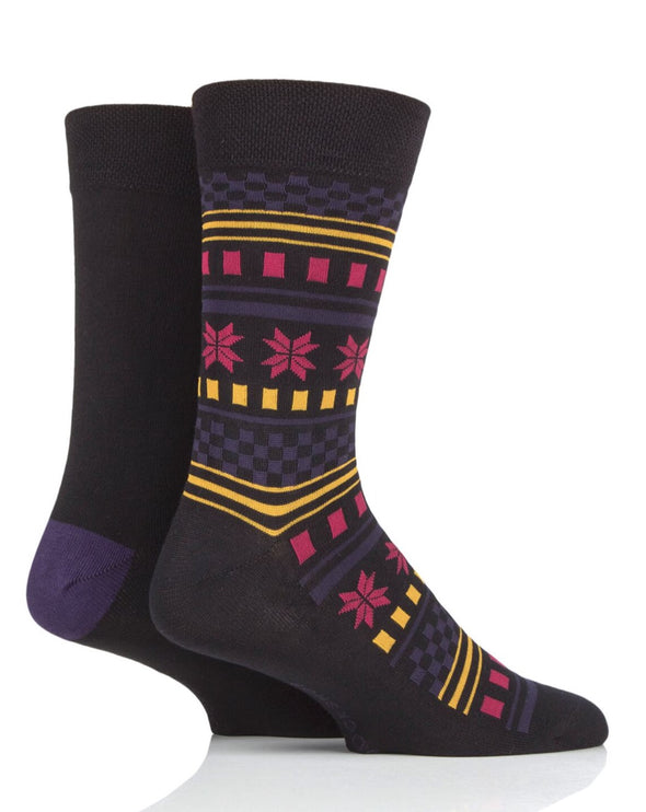 2 pairs of Sockshop Mens Bamboo Black and Multi combo