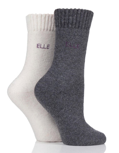 2 Pair Elle Shetland Wool Mix Brushed Inside Boot Socks