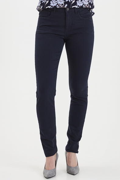 Fransa Navy Frhasnap Cotton Mix Trousers