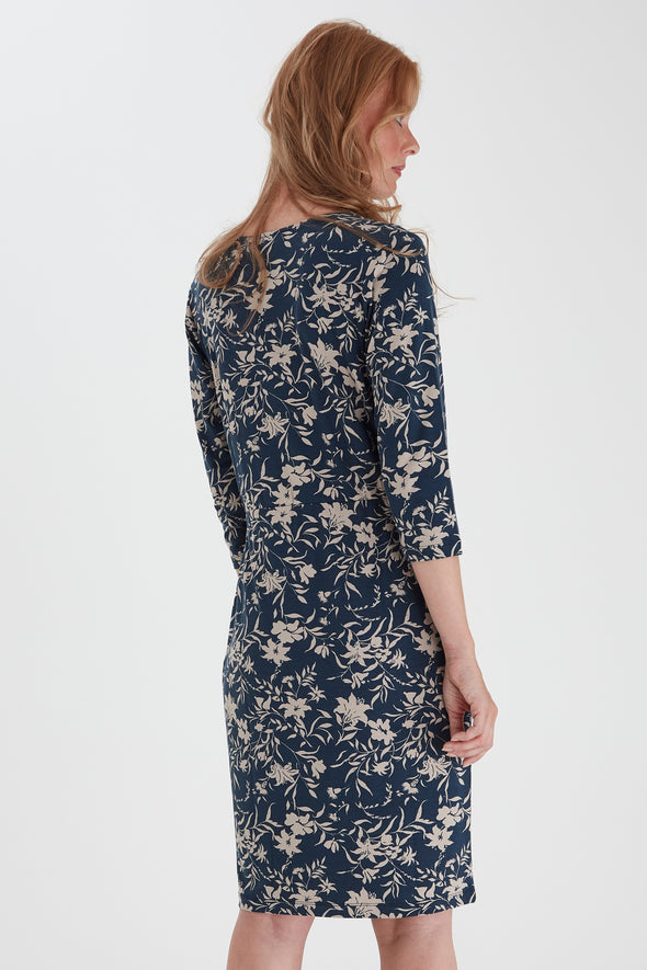 Fransa Leprint Dark Blue Dress