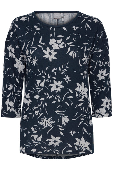 Fransa Leflower Dark Blue Top