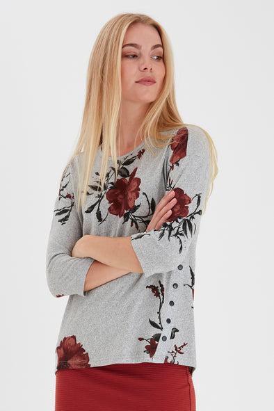 Fransa Leflower Light Grey Top with Red Flowers