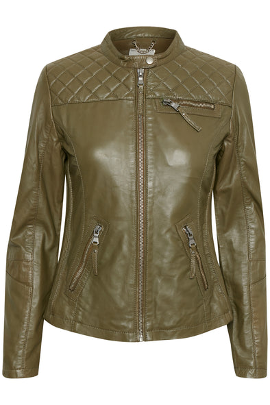 Fransa Ma Green Leather Jacket