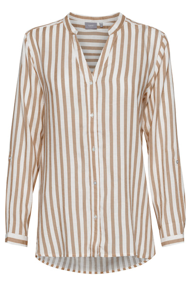 B Young Byfabianne Almond And White Stripe Shirt