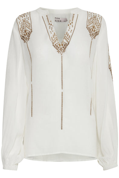 B Young Byizabel Off White Blouse