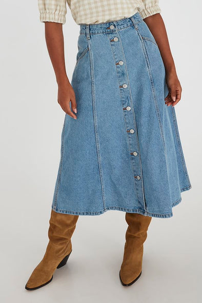 B Young Bylyra Light Denim Long Skirt