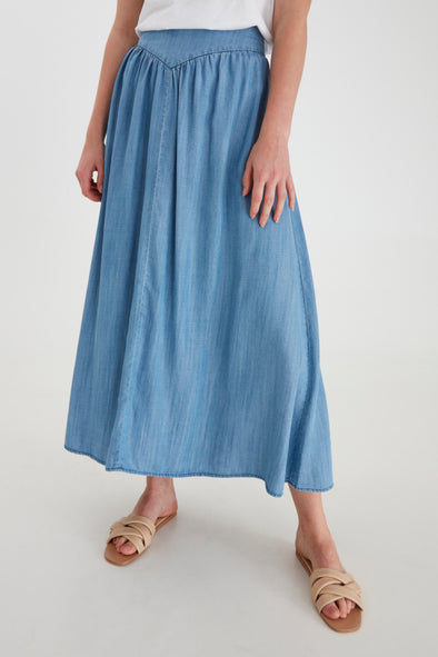 B Young Bylana Denim Lyocell Long Skirt