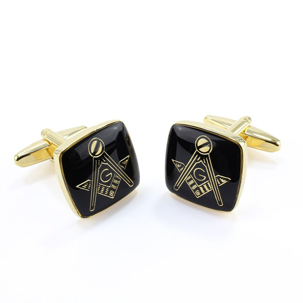 Sophos Masonic Cufflinks With 'G' Black / Gold