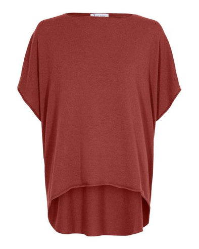 Tif Tiffy COLETTE Red Cashmere and Merino Knitted Poncho