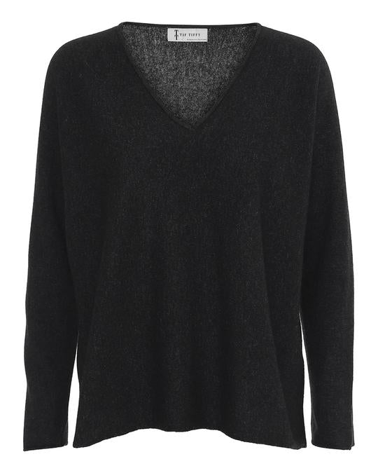 Tif Tiffy Elisa Vneck Black Merino Wool Jumper