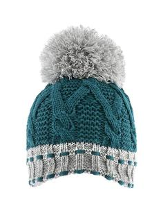 DENTS Chunky Green/Grey Knit Hat with Large Pom Pom