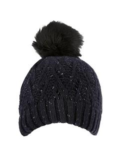 DENTS Lace Knit Hat with Faux Fur Pom Pom