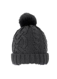 DENTS Metallic Cable Knit Hat with Faux Fur Pom Pom