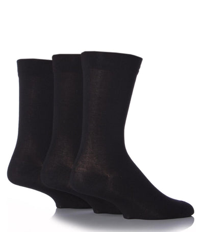 3 Pair Sockshop Black Plain Gentle Comfort Cuff Bamboo Socks
