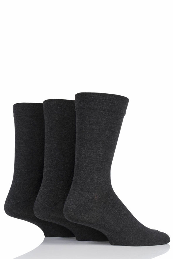 3 Pair Sockshop Grey Plain Gentle Comfort Cuff Bamboo Socks