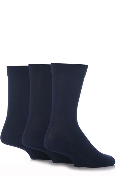3 Pair Sockshop Navy Plain Gentle Comfort Cuff Bamboo Socks