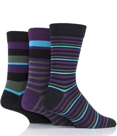 3 Pair Sockshop Black Striped Gentle Comfort Cuff Bamboo Socks