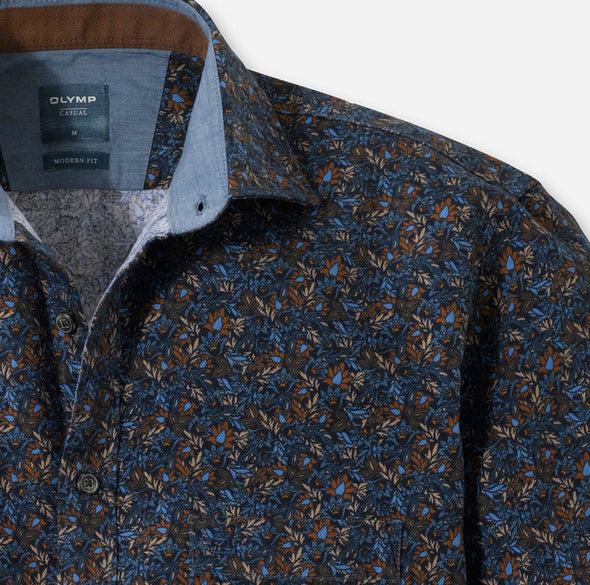 Olymp Kent Casual Brown and Blue Print Shirt