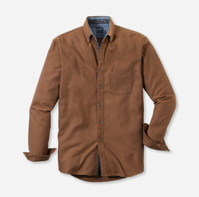 Olymp Casual Fit Button Down Shirt in Brown